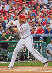 7 October 2016: Washington Nationals outfielder Jayson Werth in action during the NLDS Game 1 against the Los Angeles Dodgers at Nationals Park in Washington, DC. The Dodgers edged out the Nationals 4-3 to take the opening game of their best-of-five series. Mandatory Credit: Ed Wolfstein Photo *** RAW (NEF) Image File Available ***