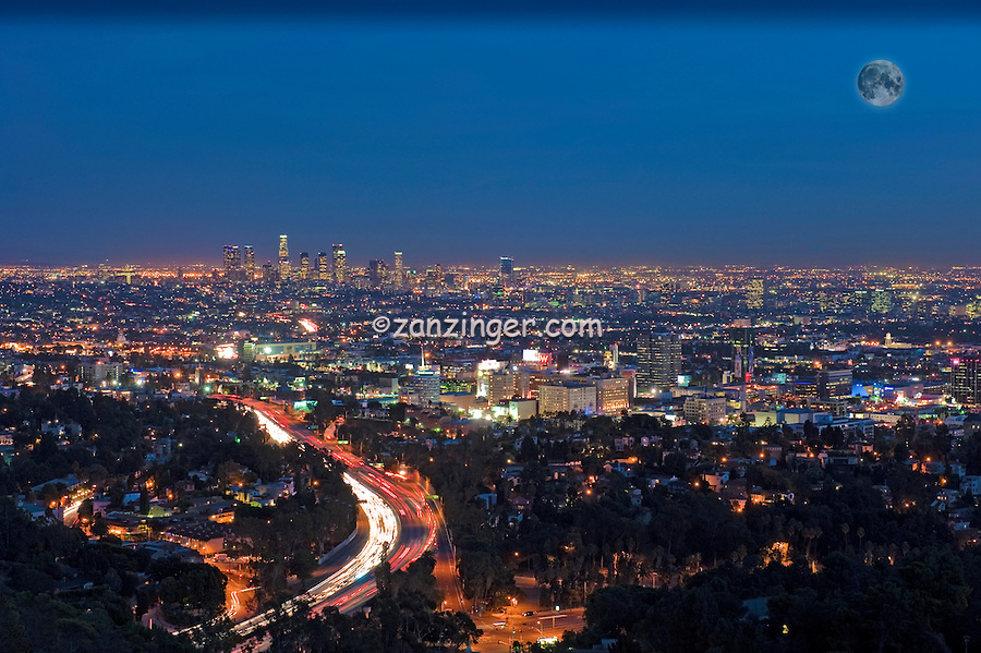 Downtown, Cityscape, LA, Skyline, Twilight, Night, streaking tail lights, Freeway 101, Hollywood, Calif. offices, Skyscrapers,  Magic Hour, dusk, Panorama, Moon CGI