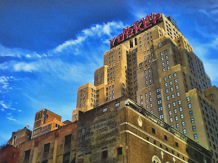 Creative image of the famous New Yorker Hotel located in Manhattan's Garment District, 34th street, New York City, USA.