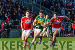 Kerry Jack Barry leaves Conor Dorman and Ian McGuire Cork  in his wake during the McGrath cup clash in Mallow on Sunday