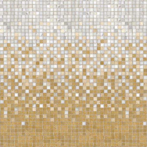 Mist, a hand-cut stone mosaic, shown in 1.5 cm polished Renaissance Bronze, Calacatta, and Crema Marfil.