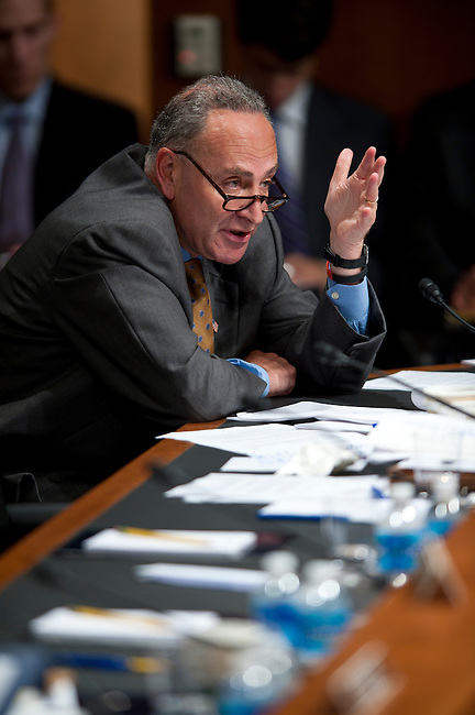 June 29, 2010 - Washington, District of Columbia, U.S., -  Senator Chuck Schumer listens as Solicitor General Elena Kagan answers his questions on her second day of hearings on her nomination to be an associate justice of the Supreme Court.(Credit Image: © Pete Marovich/ZUMA Press)