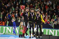 SCHAATSEN: HEERENVEEN: 28-12-2016, KPN NK AFSTANDEN, Jorrit Bergsma, Sven Kramer, Douwe de Vries, ©foto Martin de Jong