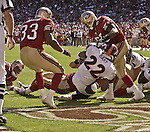 Denver Broncos running back Olandis Gary (22) dives for touchdown on Sunday, September 15, 2002, in San Francisco, California. The Broncos defeated the 49ers 24-14.