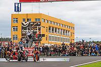 Sandro Cortese; Jorge Lorenzo; Marc Marquez presentation to photographers in Cheste racetrack