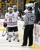 Jim Driscoll (NU - 4), ? - The Northeastern University Huskies defeated the Harvard University Crimson 4-1 (EN) on Monday, February 8, 2010, at the TD Garden in Boston, Massachusetts, in the 2010 Beanpot consolation game.