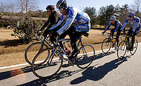 Clockwise from foreground, Discovery Channel Pro Cycling Team racer George Hincapie, his brother Rich, Team TIAA-CREF racer Craig Lewis and Discovery Channel racer Ryder Hesjedal on a training ride. Long successful in the European classics, in addition to being Lance Armstrong's right hand man on the team, Hincapie took his first Tour de France stage win in 2005.<br />