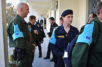 Frontex police officers from several European countries, all belonging to the Rapid Border Intervention Team (RABIT), gather at the police station in the town of Orestiada near the Greek-Turkish border.