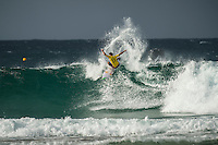 Snapper Rocks, COOLANGATTA, Queensland/AUS (Tuesday, March 15, 2016) Adriano de Souza (BRA)  - The Quiksilver and Roxy Pro Gold Coast, the opening stop on the 2016  WSL Championship Tour recommenced at 7:35am this morning with men&rsquo;s and women&rsquo;s Round 4 and the women&rsquo;s Quarterfinals called on in clean three-to-five foot (1 - 1.5 metre) waves at Snapper Rocks.<br /> <br /> There was a break during the high tide with only two heats of the men's Round five not completed.<br /> <br />  .Photo: joliphotos.com