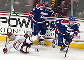Joseph Pendenza (UML - 14), Michael Sit (BC - 18), Terrence Wallin (UML - 9) - The University of Massachusetts Lowell River Hawks defeated the Boston College Eagles 4-2 (EN) on Tuesday, February 26, 2013, at Kelley Rink in Conte Forum in Chestnut Hill, Massachusetts.