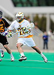 10 April 2011: University of Vermont Catamount midfielder Luke Ryder, a Sophomore from Worcester, MA, in action against the University at Albany Great Danes on Moulton Winder Field in Burlington, Vermont. The Catamounts defeated the visiting Danes 11-6 in America East play. Mandatory Credit: Ed Wolfstein Photo