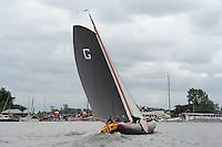 SKUTSJESILEN: GROU: SKS skûtsjesilen, Friese Sporten, 30-07-2011, Fryslân, Grouster skûtsje (It Doarp Grou), schipper Douwe Azn Visser, ©foto Martin de Jong