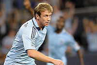 Sporting KC midfielder Jacob Peterson (37) turns after scoring the opening goal..Sporting Kansas City defeated Philadelphia Union 2-1 at LIVESTRONG Sporting Park, Kansas City, KS.