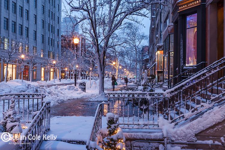 Fresh snow on Newbury Street, Back Bay, Boston, MA, USA