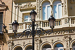 lamp and structural tram wire support in sevilla, spain