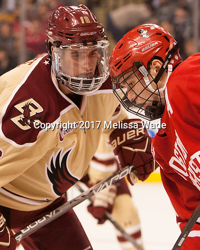 Colin White (BC - 18), Jakob Forsbacka Karlsson (BU - 23) - The Boston University Terriers defeated the Boston College Eagles 3-1 in their opening Beanpot game on Monday, February 6, 2017, at TD Garden in Boston, Massachusetts.