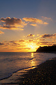 Sunset over lagoon at Bikini Atoll, Marshall Islands, Micronesia.