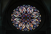 Main rose window of the Western facade in the Basilique Cathedrale Notre-Dame d'Amiens or Cathedral Basilica of Our Lady of Amiens, built 1220-70 in Gothic style, Amiens, Picardy, France. Amiens Cathedral was listed as a UNESCO World Heritage Site in 1981. Picture by Manuel Cohen