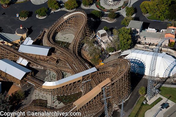 aerial photograph rollercoaster California's Great America amusement park, Santa Clara, California