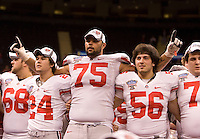 Mike Adams celebrates with teammates with Sugar Bowl Champion trophy after defending Arkansas during 77th Annual Allstate Sugar Bowl Classic at Louisiana Superdome in New Orleans, Louisiana on January 4th, 2011.  Ohio State defeated Arkansas, 31-26.