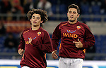 Calcio, Serie A: Roma vs Udinese. Roma, stadio Olimpico, 28 ottobre 2012..AS Roma defender Dodo', left, and midfielder Marquinho, both of Brazil, warm up prior to the start of the Italian Serie A football match between AS Roma and Udinese, at Rome, Olympic stadium, 28 October 2012..UPDATE IMAGES PRESS/Riccardo De Luca