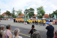 KAATSEN: FRANEKER: Sportcomplex 'De Trije', 01-09-2012, Wereldkampioenschap Kaatsen, Llargues, Finale Team Nederland - Team Colombia, Pieter Tienstra (bondscoach), Jochum Bouma (coach), Hendrik Tolsma, Bauke Dijkstra, Pier Piersma, Johan van der Meulen, Taeke Triemstra, Marten Feenstra, Renze Hiemstra, Eindstand 10-1, ©foto Martin de Jong