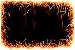 Sparkling fireworks frame on black background