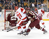 Thatcher Demko (BC - 30), Matt Lane (BU - 21), Danny Linell (BC - 10), Nick Roberto (BU - 15) - The Boston College Eagles defeated the Boston University Terriers 3-1 (EN) in their opening round game of the 2014 Beanpot on Monday, February 3, 2014, at TD Garden in Boston, Massachusetts.