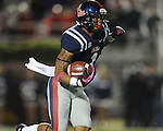 Ole Miss' Randall Mackey (1) returns a kickoff vs. Texas A&amp;M in Oxford, Miss. on Saturday, October 6, 2012. Texas A&amp;M won 30-27...