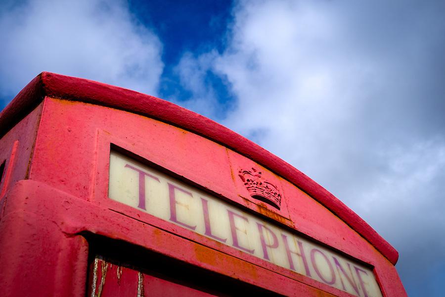 SCOTLAND - CIRCA APRIL 2016: Telephone cabin near Kylerhea  in Skye an Island in Scotland