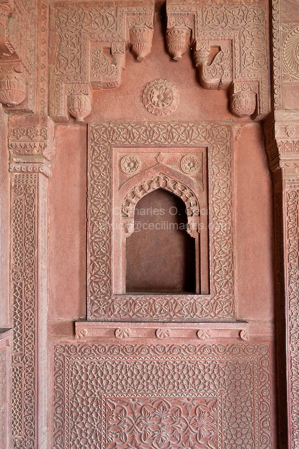 Fatehpur Sikri, Uttar Pradesh, India.  Wall Niche Showing Hindu Corbelled Arch and Islamic Arch underneath, in Wall Niche.   Birbal's Palace, Residence of the Emperor's Senior Wives.