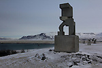 Sculptures on the hills near the Laekir suburb in east Reykjavik, South-West Iceland