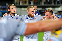 Ross Batty of Bath Rugby is all smiles in a post-match huddle. Pre-season friendly match, between Leinster Rugby and Bath Rugby on August 26, 2016 at Donnybrook Stadium in Dublin, Republic of Ireland. Photo by: Patrick Khachfe / Onside Images