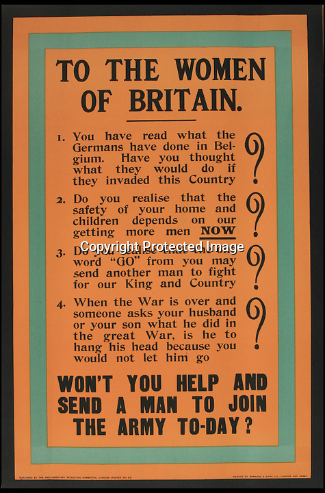 BNPS.co.uk (01202 558833)<br /> Pic: Onslows/BNPS<br /> <br /> ***Please use full byline***<br /> <br /> Emotional blackmail from 1915 as the casualties mounted.<br /> <br /> An amazing collection of recruitment posters from the Great War are coming up for auction - and they chillingly reveal the increasingly desperate methods used as casualties mounted on the Western front.<br /> <br /> The almost complete collection of nearly 200 posters were discovered in a loft in Kent and are now being sold by Onslows auctioneers of Dorset.