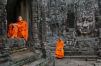 Monks at Bayon Temple, Angkor, Cambodia 2006 <br />