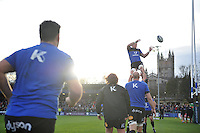 Stuart Hooper of Bath Rugby wins the ball at a lineout during the pre-match warm-up. European Rugby Champions Cup match, between Bath Rugby and Leinster Rugby on November 21, 2015 at the Recreation Ground in Bath, England. Photo by: Patrick Khachfe / Onside Images