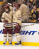Johnny Gaudreau (BC - 13), Pat Mullane (BC - 11) - The Boston College Eagles defeated the Northeastern University Huskies 6-3 on Monday, February 11, 2013, at TD Garden in Boston, Massachusetts.