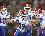 Louisiana Tech's Taulib Ikharo (17) celebrates his touchdown reception against Ole Miss with in Oxford, Miss. on Saturday, November 12, 2011.