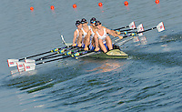 Brest, Belarus.  GBR W4X. Bow Ruth WALCZAK, Georgina HAZELL, Victoria MEYER-LAKER and Rachel GAMBLE-FLINT, at the start.  2010. FISA U23 Championships. Friday,  23/07/2010.  [Mandatory Credit Peter Spurrier/ Intersport Images]