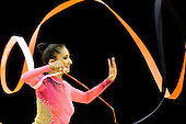 Olympic Test Event  Gymnastics. O2 Arena London England. 18.1.12. Rhythmic Competition. Djamila.RAKHMATOVA of UZB