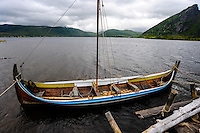 Norway, Lofoten. The Lofotr Viking Museum. A traditional fishing boat.