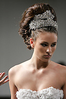 Model walks runway for the Collection Amoureux - Bridal Hair Couture by Elie Esper fashion show, during Couture Fashion Week in New York, February 17 2012.