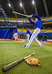 1 April 2016: Toronto Blue Jays infielder Troy Tulowitzki takes a practice swing outside the batting cage prior to a pre-season exhibition game against the Boston Red Sox at Olympic Stadium in Montreal, Quebec, Canada. The Red Sox defeated the Blue Jays 4-2 in the first of two MLB weekend exhibition games, which saw an attendance of 52,682 at the former home on the Montreal Expos. Mandatory Credit: Ed Wolfstein Photo *** RAW (NEF) Image File Available ***