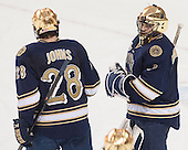 Stephen Johns (ND - 28), Steven Summerhays (ND - 1) - The visiting University of Notre Dame Fighting Irish defeated the Boston College Eagles 7-2 on Friday, March 14, 2014, in the first game of their Hockey East quarterfinals matchup at Kelley Rink in Conte Forum in Chestnut Hill, Massachusetts.