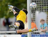 Fussball, 2. Bundesliga, Saison 2011/12, Testspiel SG Dynamo Dresden - Slovan Liberec, Pirna. Dresdens Torwart Dennis Eilhoff.