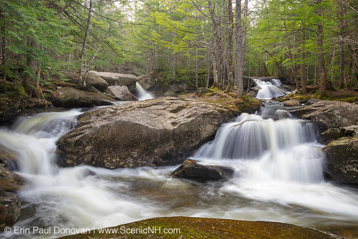 Jackman Falls along Jackman Brook in North Woodstock, New Hampshire USA during the spring months.