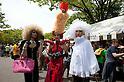 April 29, 2012, Tokyo, Japan -  Three men dressed as women at Yoyogi Park. The first Tokyo Rainbow Pride parade started from Yoyogi Park and went around the Harajuku area.  (Photo by Rodrigo Reyes Marin/AFLO) (JAPAN)   .