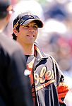 21 May 2007:  Baltimore Orioles infielder Brian Roberts talks with teammates at Doubleday Field prior to Baseball's Annual Hall of Fame Game in Cooperstown, NY. The Orioles defeated the visiting Toronto Blue Jays 13-7...Mandatory Credit: Ed Wolfstein Photo
