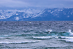 Surfing storm waves at Sand Harbor