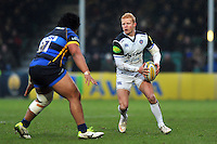 Tom Homer of Bath Rugby in possession. Aviva Premiership match, between Worcester Warriors and Bath Rugby on February 13, 2016 at Sixways Stadium in Worcester, England. Photo by: Patrick Khachfe / Onside Images